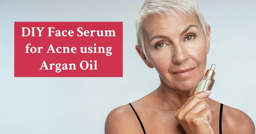 senior woman holding serum bottle