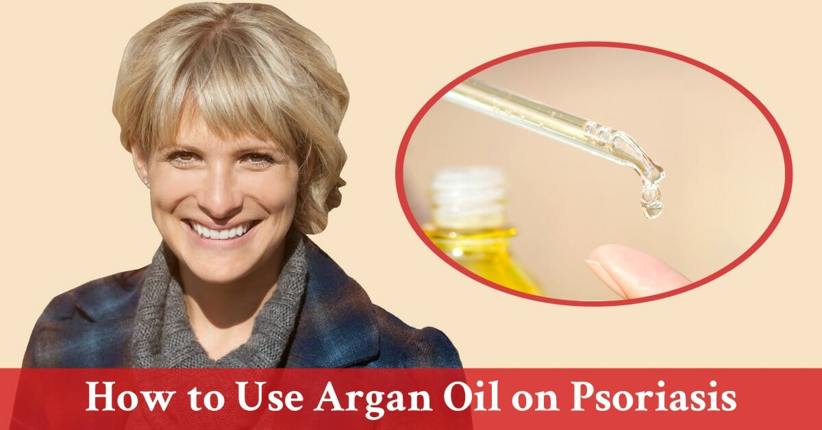 mature woman with close up of argan oil