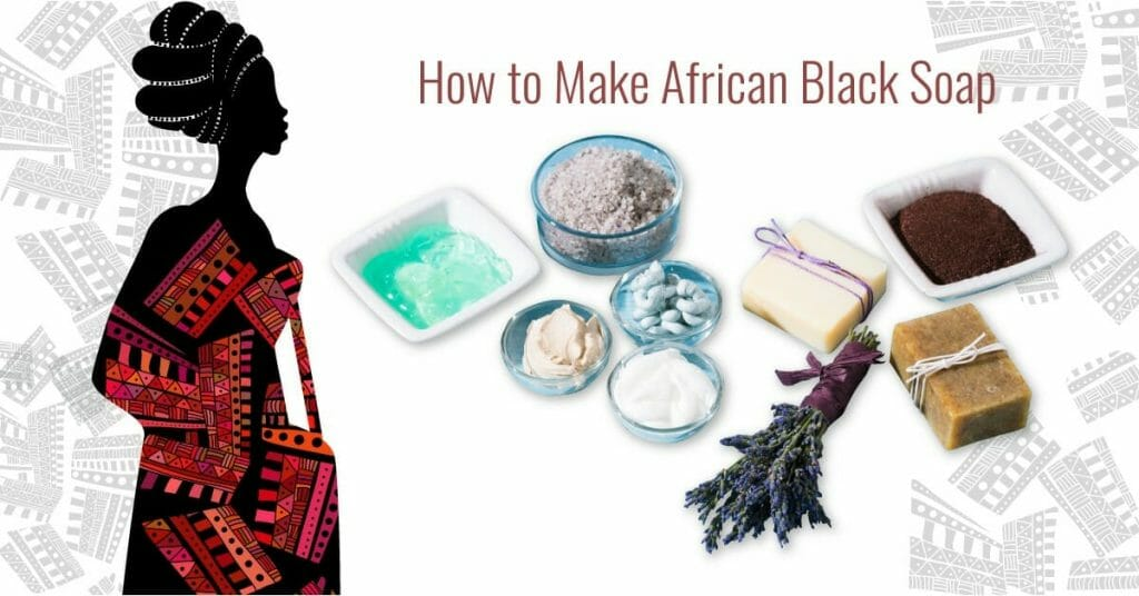african woman and ingredients for black soap