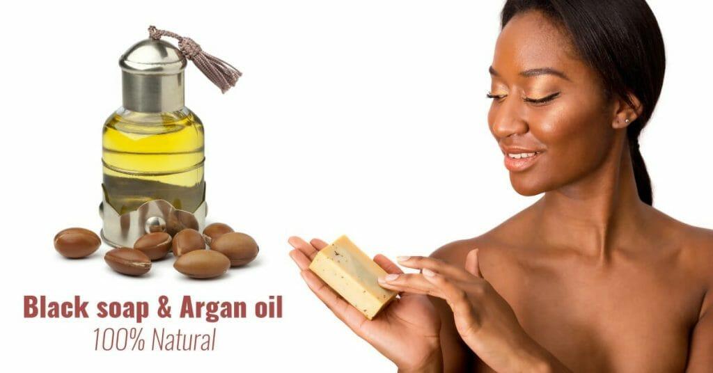 black woman and argan oil