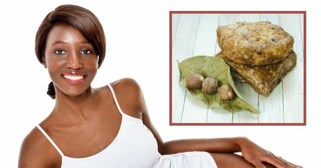black woman with african black soap