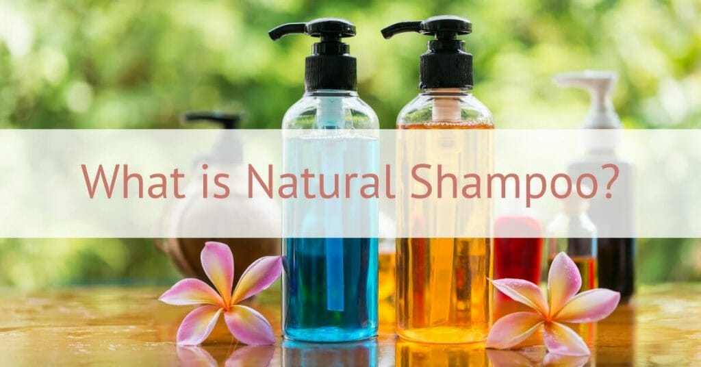 shampoos in clear bottles with nature background