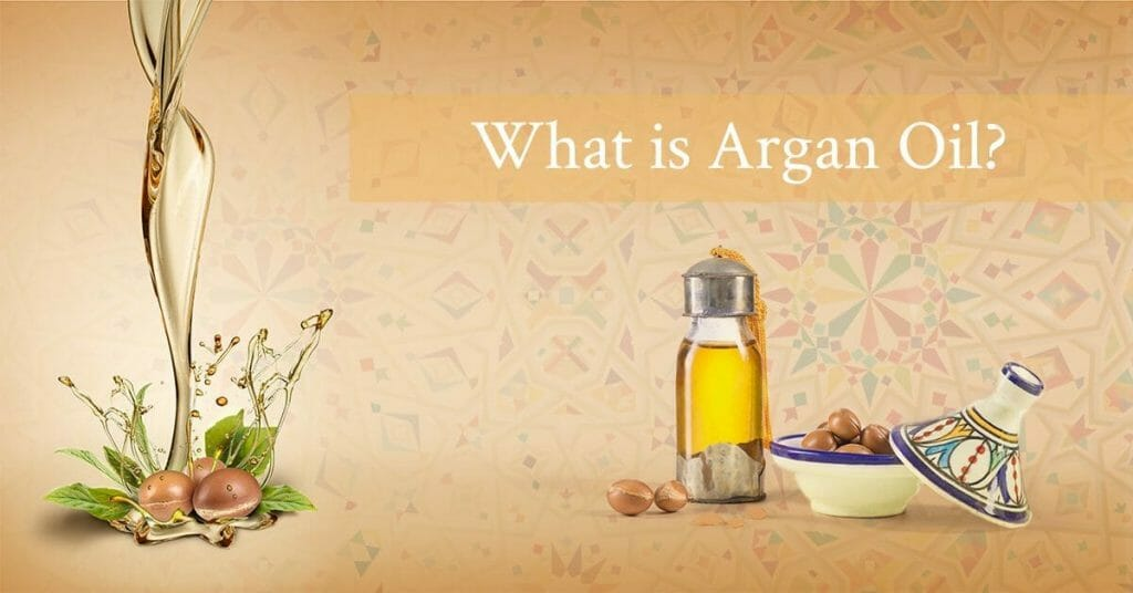 argan nuts and oil bottle