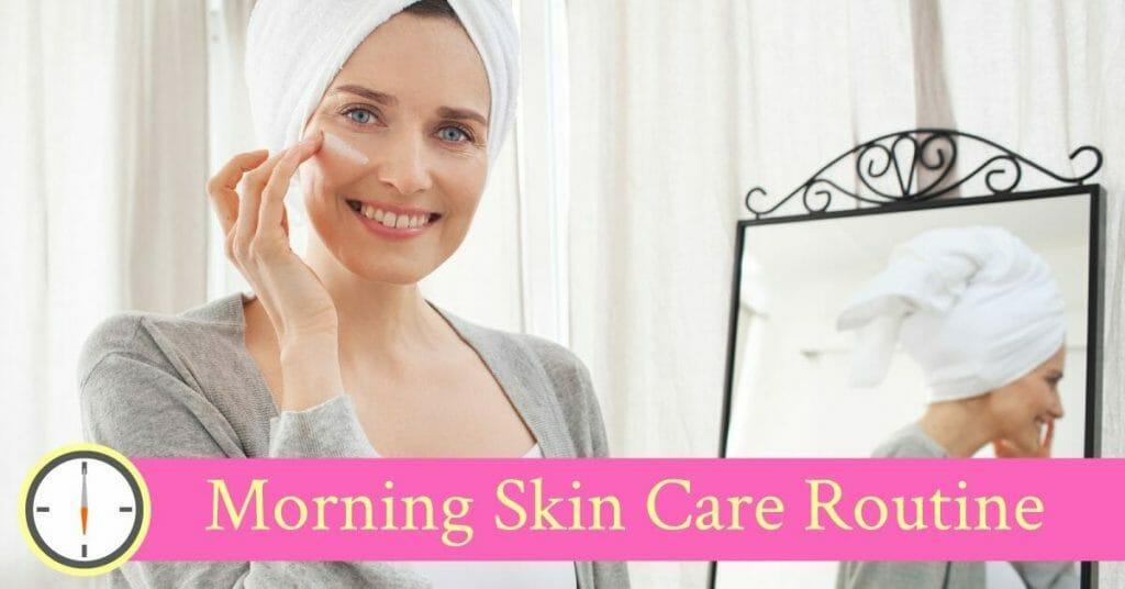 woman preparing skin routine