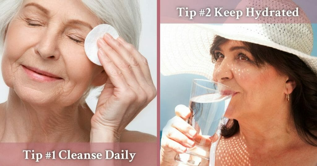 keeping face clean and drinking water