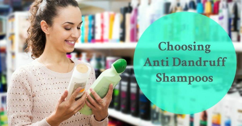 woman choosing between two shampoos